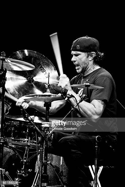 EXCEL Photo of Chad SMITH and RED HOT CHILI PEPPERS Drummer Chad Smith performing on stage at the London International Music Show 2008