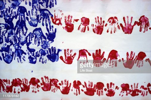 Photo of children's artwork of the American Flag : Stock Photo