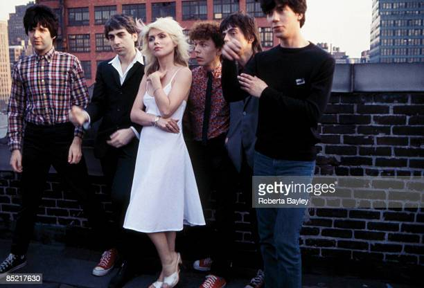 Photo of Chris STEIN and BLONDIE and Clem BURKE and Debbie HARRY LR Clem Burke Chris Stein Debbie Harry Nigel Harrison Frank Infante Jimmy Destri
