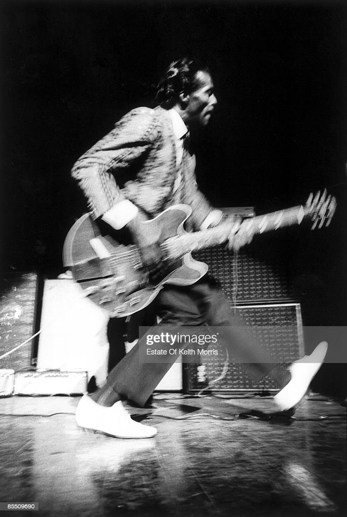 HALL Photo of Chuck BERRY, performing live onstage, playing guitar