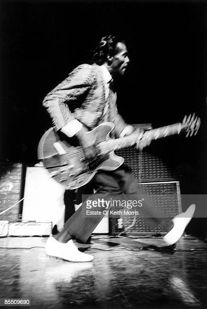 HALL Photo of Chuck BERRY performing live onstage playing guitar