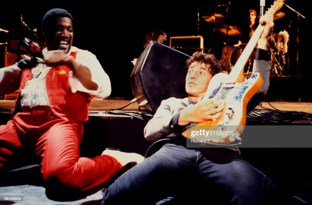 GARDEN Photo of Clarence CLEMONS and Bruce SPRINGSTEEN with Clarence Clemons EStreet Band performing live onstage at Muse 'No Nukes' Benefit