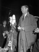 Photo of Clark Gable 14th December 1939 Atlanta Georgia Actor Clark Gable at the microphone addressing the crowd at the premiere of 'Gone With The...
