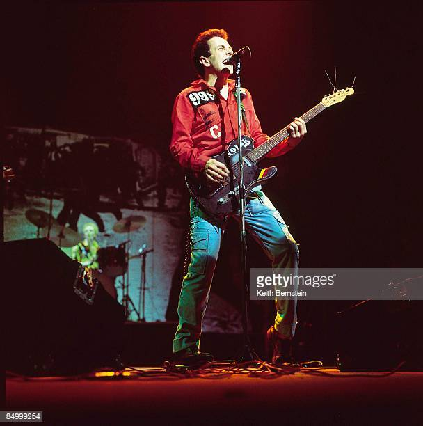 THEATRE Photo of CLASH Joe Strummer performing live onstage on White Riot Tour playing Fender Telecaster guitar