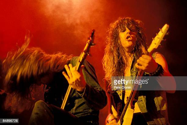 FESTIVAL Photo of Cliff BURTON and James HETFIELD and METALLICA Cliff Burton and James Hetfield performing live onstage