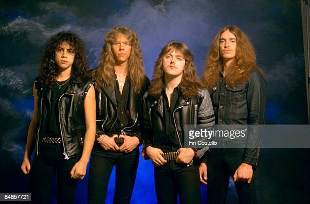 Photo of Cliff BURTON and METALLICA and Kirk HAMMETT and James HETFIELD and Lars ULRICH LR Kirk Hammett James Hetfield Lars Ulrich Cliff Burton posed...
