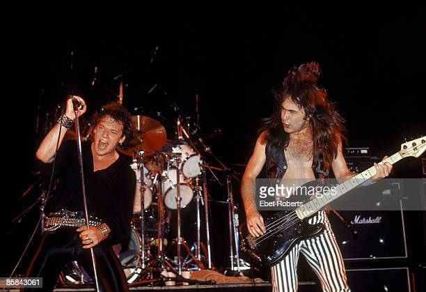 Photo of Clive BURR and IRON MAIDEN and Paul DI'ANNO and Steve HARRIS Paul Di'Anno Clive Burr and Steve Harris performing live onstage on Killers...