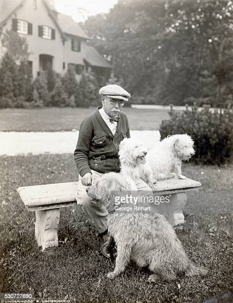 Photo of composer John Philip Sousa among his 'musical friends' Sousa's devoted companions have registered pedigrees and distinguished names but show...