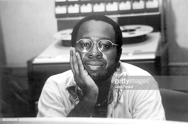 Photo of Curtis MAYFIELD Posed portrait of Curtis Mayfield in a recording studio