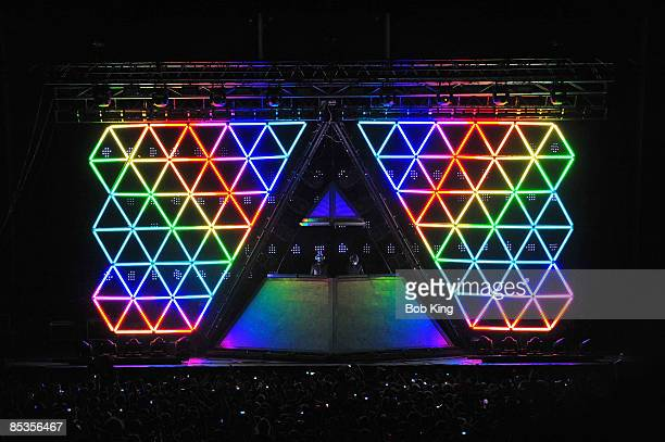 Photo of DAFT PUNK Daft Punk performing on stage at the Sydney Showground lights and stage show