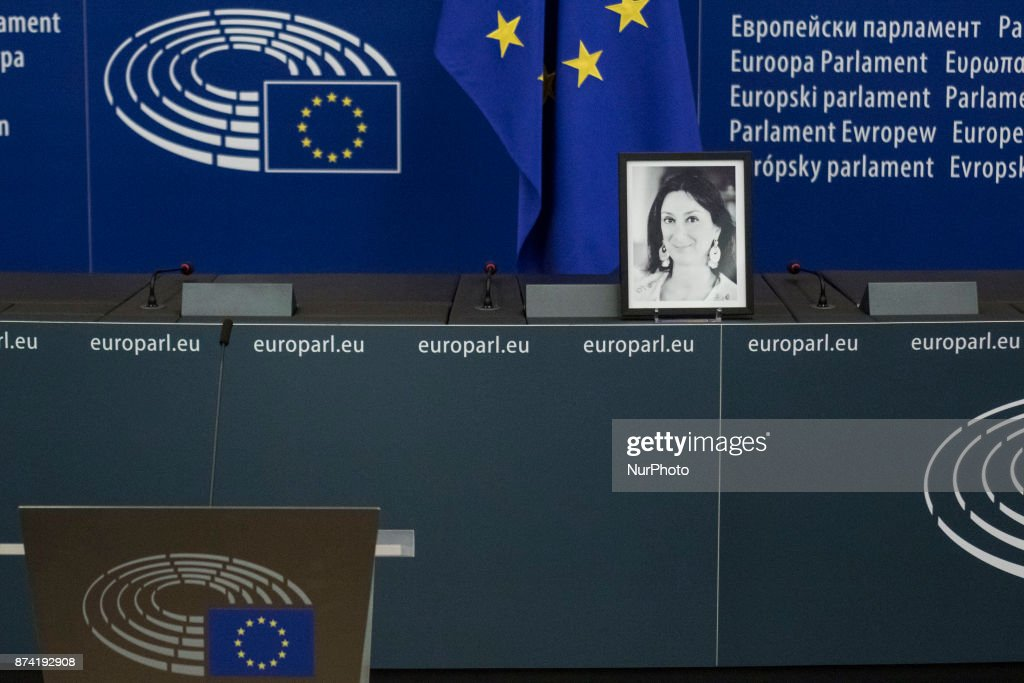 Photo of Daphné CARUANA GALIZIA on 14 november 2017, in EU parlament in Strasbourg, France. Daphné CARUANA GALIZIA was a Maltese journalist, writer, and anti-corruption activist. At around 3 pm on 16 October 2017, Daphne Caruana Galizia died in a car bomb attack on her rented Peugeot 108, while she was driving close to her home in Malta.