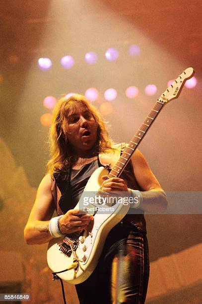 ARENA Photo of Dave MURRAY and IRON MAIDEN Dave Murray performing live onstage on the Seventh Tour of a Seventh Tour playing ESP guitar