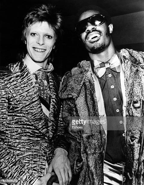 USA Photo of David BOWIE and Stevie WONDER David Bowie with Stevie Wonder c1973