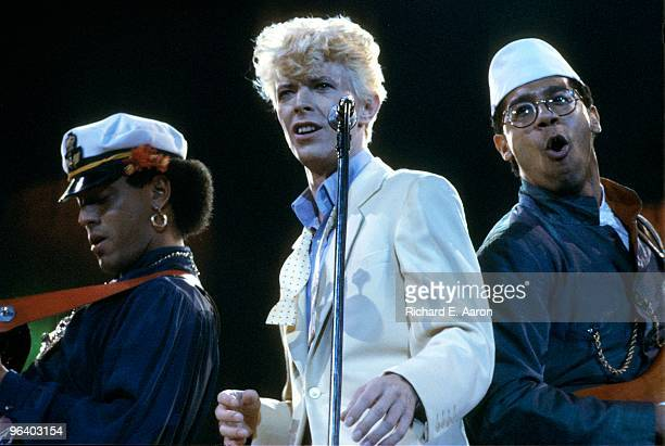 Photo of David BOWIE performing live onstage with Carmine Rojas and Carlos Alomar at The Forum Los Angeles on Serious Moonlight tour on August 14...