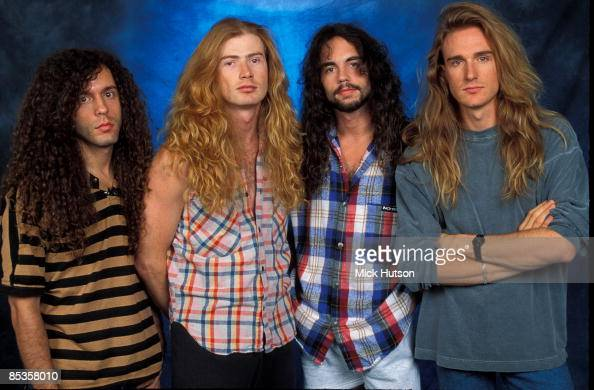 STUDIO Photo of David Ellefson and Dave MUSTAINE and Marty FRIEDMAN and MEGADETH LR Marty Friedman Dave Mustaine Nick Menza David Ellefson