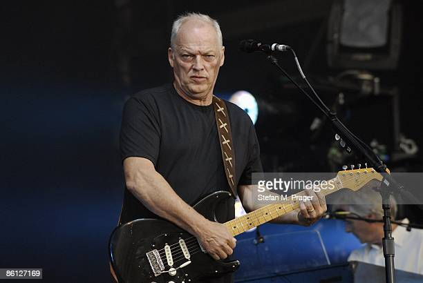 Photo of David GILMOUR David Gilmour performing live onstage open air in Koenigsplatz Munich playing Fender Stratocaster guitar