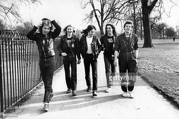 Photo of Dennis STRATTON and Steve HARRIS and Paul DI'ANNO and IRON MAIDEN and Dave MURRAY and Clive BURR LR Clive Burr Dave Murray Steve Harris...