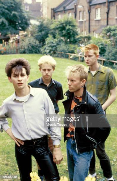 Photo of DEPECHE MODE From left to right Dave Gahan Martin Gore Vince Clarke and Andy Fletcher