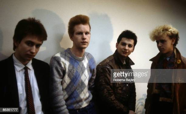 Photo of DEPECHE MODE Group portrait LR Alan Wilder Andrew Fletcher Dave Gahan and Martin Gore