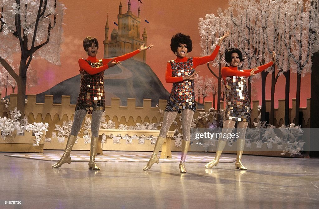 Photo of Diana ROSS and Mary WILSON and SUPREMES and Cindy BIRDSONG Group performing on tv show LR Mary Wilson Diana Ross Cindy Birdsong