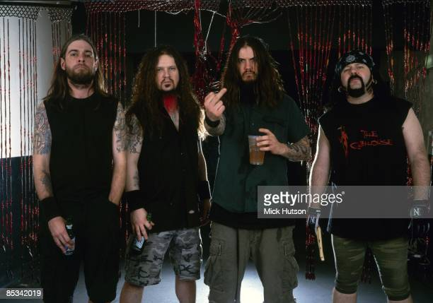 Photo of Dimebag DARRELL and Vinnie PAUL and Rex BROWN and PANTERA and Phil ANSELMO LR Rex Brown Dimebag Darrell Phil Anselmo Vinnie Paul posed...