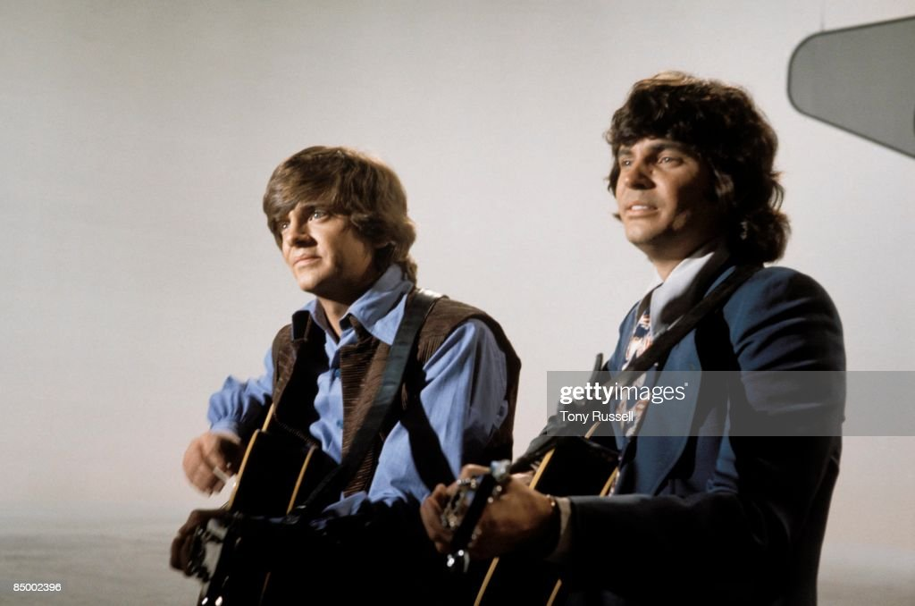 Photo of Don EVERLY and Phil EVERLY and EVERLY BROTHERS; Phil Everly and Don Everly performing on LWT TV show