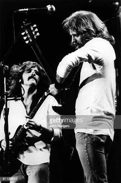POOL Photo of Don FELDER and Glen FREY and EAGLES LR Glen Frey Don Felder performing live onstage on Hotel California tour