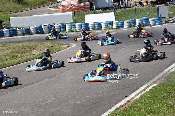 A photo of drivers on a kart racing game