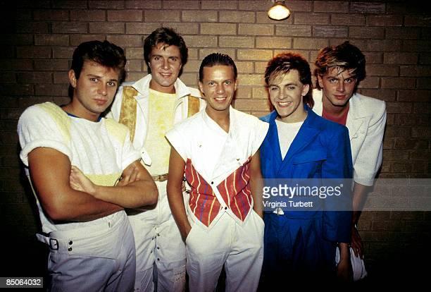 BIRMINGHAM Photo of DURAN DURAN LR Roger Taylor Simon Le Bon Andy Taylor Nick Rhodes John Taylor posed group shot at Villa Park gig