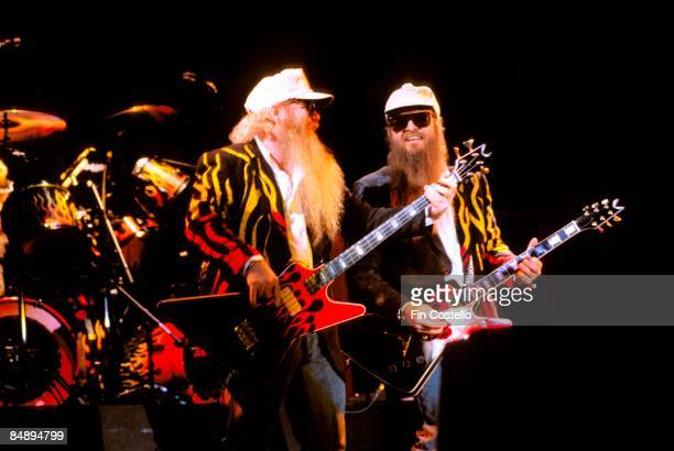 PARK Photo of Dusty HILL and Billy GIBBONS and ZZ TOP Dusty Hill and Billy Gibbons performing live onstage at Monsters Of Rock