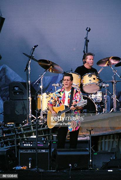 Photo of EAGLES Glenn Frey and Don Henley performing live onstage on Hell Freezes Over tour