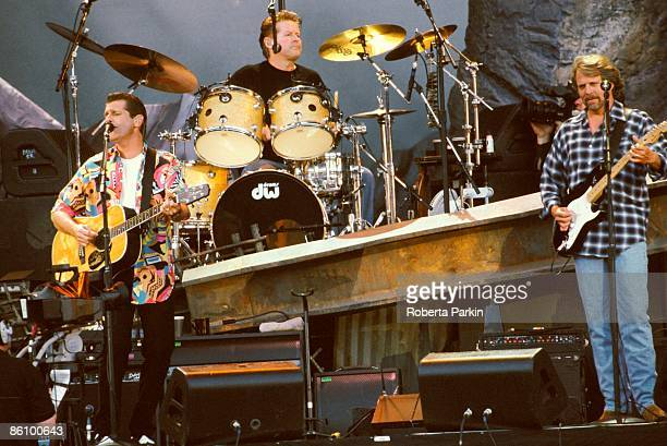 Photo of EAGLES LR Glenn Frey Don Henley and Don Felder performing live onstage on Hell Freezes Over tour