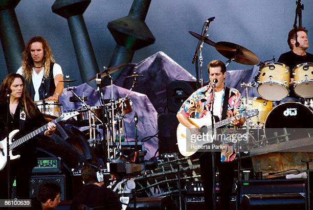 Photo of EAGLES LR Timothy B Schmit Glenn Frey Don Henley performing live onstage on Hell Freezes Over tour