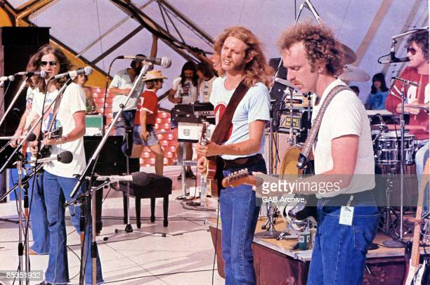 Photo of EAGLES Performing live on stage circa 1972 LR Glenn Frey Don Felder Bernie Leadon and Don Henley