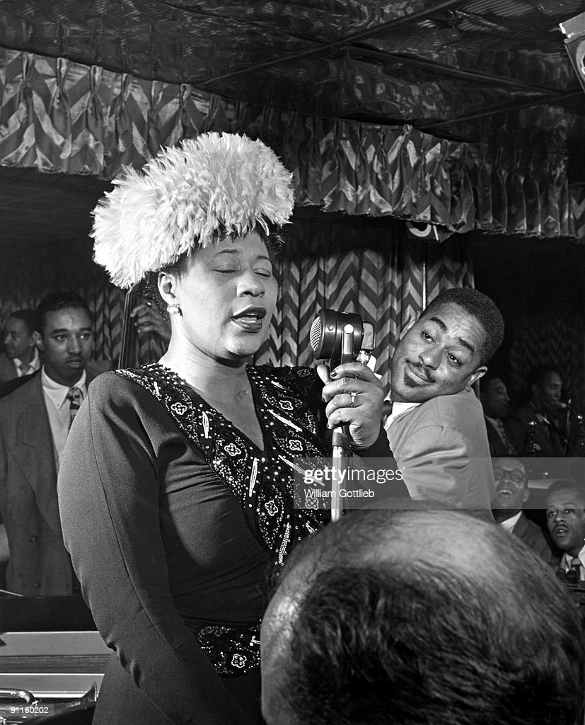 Photo of Ella FITZGERALD and Dizzy GILLESPIE and Ray BROWN; with <a gi-track='captionPersonalityLinkClicked' href=/galleries/search?phrase=Dizzy+Gillespie&family=editorial&specificpeople=213231 ng-click='$event.stopPropagation()'>Dizzy Gillespie</a> & <a gi-track='captionPersonalityLinkClicked' href=/galleries/search?phrase=Ray+Brown&family=editorial&specificpeople=233664 ng-click='$event.stopPropagation()'>Ray Brown</a>