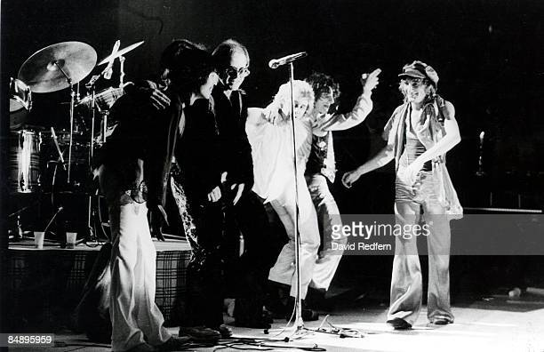 CINEMA Photo of Elton JOHN and Ronnie WOOD and Ron WOOD and Tetsu YAMAUCHI and Rod STEWART and FACES live onstage w/The Faces LR Tetsu Yamauchi Elton...
