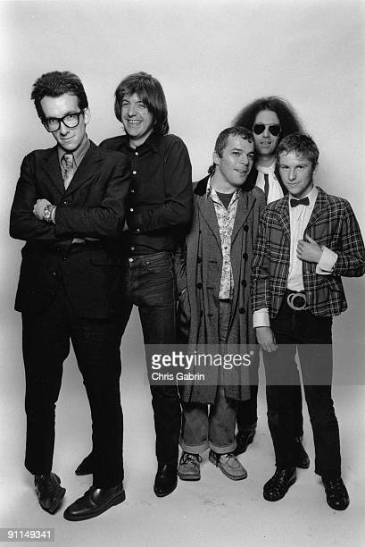 Photo of Elvis COSTELLO and STIFF RECORDS and Ian DURY and Nick LOWE LR Elvis Costello Nick Lowe Ian Dury Larry Wallis Wreckless Eric