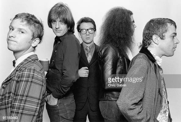 Photo of Elvis COSTELLO and STIFF RECORDS and Nick LOWE and Ian DURY LR Wreckless Eric Nick Lowe Elvis Costello Larry Wallis Ian Dury