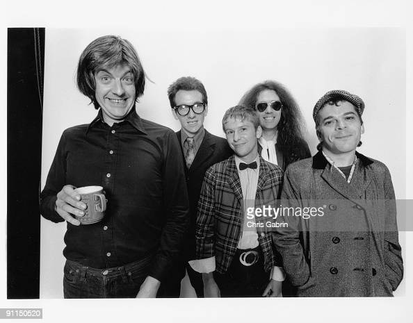 Photo of Elvis COSTELLO and STIFF RECORDS and Nick LOWE and Ian DURY LR Nick Lowe Elvis Costello Wreckless Eric Larry Wallis Ian Dury