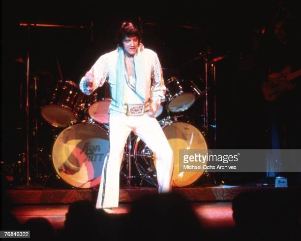 Photo of Elvis Presley in Las Vegas during a concert in December of 1975