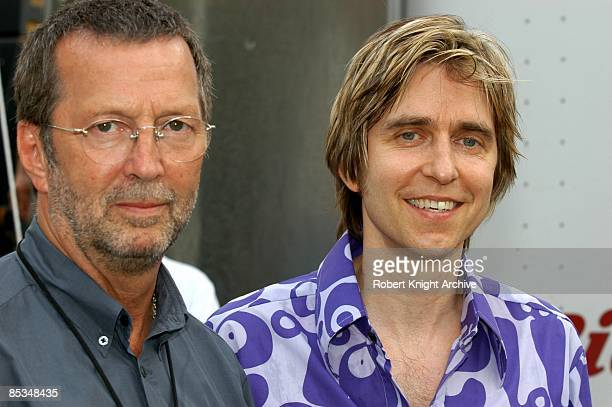TEXAS Photo of Eric CLAPTON and Eric JOHNSON w/ Eric Clapton posed at Crossroads guitar festival