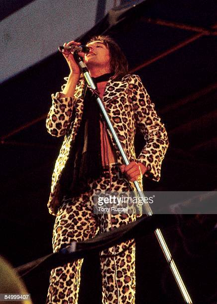 Photo of FACES and Rod STEWART Rod Stewart performing live onstage at the Oval Cricket Ground wearing leopardskin suit