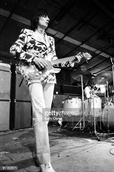 FESTIVAL Photo of FACES and Ron WOOD and Ronnie WOOD Ron Wood performing live onstage playing Ampeg Dan Armstrong perspex guitar