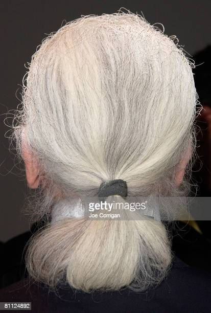 A photo of fashion designer and photographer Karl Lagerfeld's hair taken during the launch party for his new book 'Metamorphoses of an American' Held...