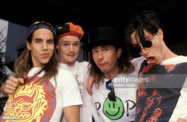 Photo of FLEA and Anthony KIEDIS and Chad SMITH and John FRUSCIANTE and RED HOT CHILI PEPPERS LR Anthony Kiedis Flea Chad Smith John Frusciante posed...