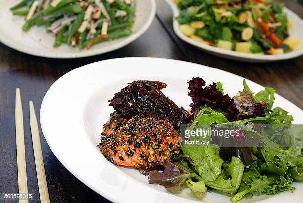 Photo of Furikake salmon stirfried mushroom and green bean and smoked tofu salad at Beacon in Culver City casual Asian cafe in the old Beacon Laundry...