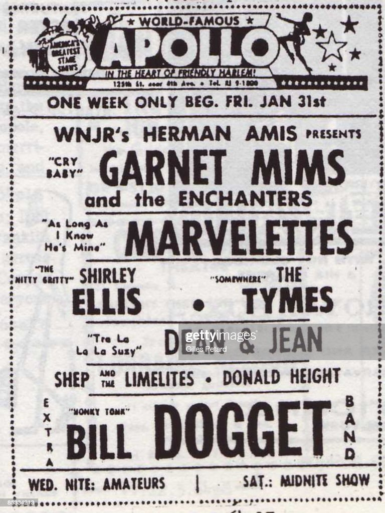 THEATER Photo of Garnet MIMS and MARVELETTES and Shirley ELLIS and TyMES and Bill DOGGET Newspaper advert for the Apollo