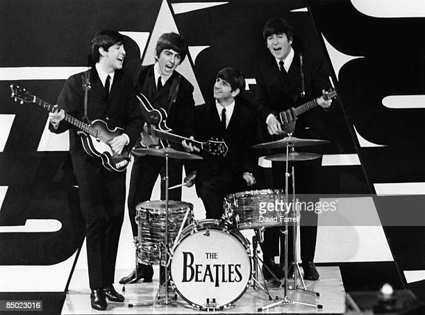 STARS Photo of George HARRISON and BEATLES and John LENNON and Paul McCARTNEY LR Paul McCartney George Harrison Ringo Starr John Lennon posed group...