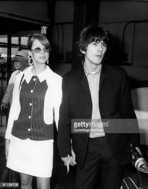 Photo of George HARRISON and Patti BOYD and BEATLES of The Beatles with his wife Patti Boyd en route to a holiday in Barbados