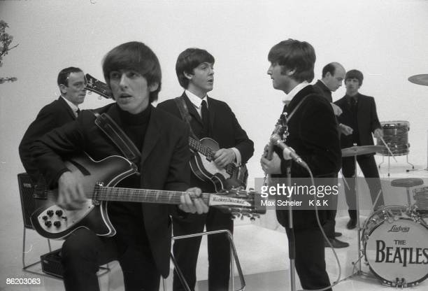 Photo of George HARRISON and Richard LESTER and BEATLES LR John Junkin George Harrison Paul McCartney John Lennon Richard Lester Ringo Starr during...